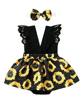 KANGKANG Baby Girls Dresses 0-3Months Summer Dress Sunflower Strap Short Skirt Yellow Black