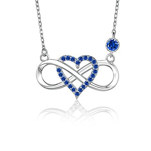 BlingGem Collares para Mujer Plata 925 Colgante Corazón Infinito Circonita Azul Collare Cumpleaños Aniversario Boda Día de la Madre Regalo para Mujer Madre Esposa