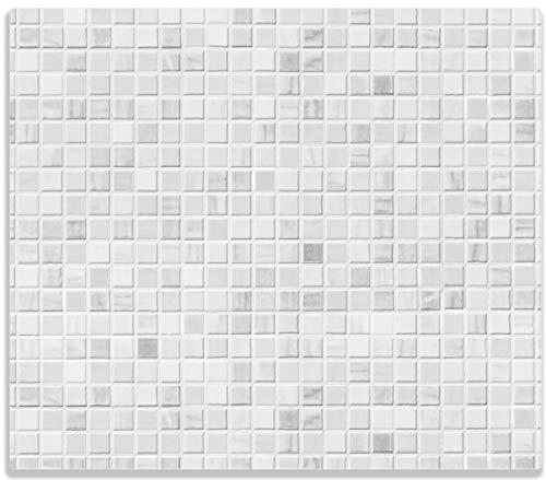 Wallario Herdabdeckplatte/Spritzschutz aus Glas, 1-teilig, 60x52cm, für Ceran- und Induktionsherde, Fliesen im Bad weiß-grau