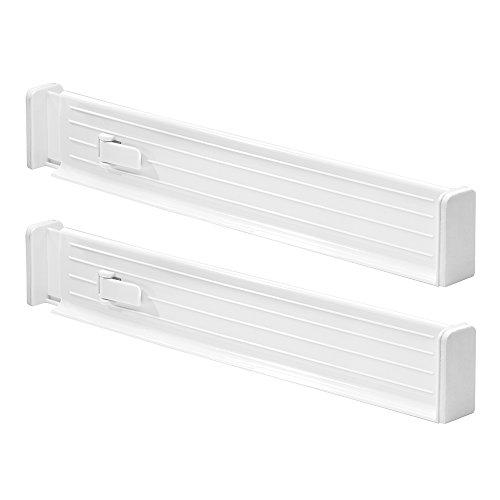 InterDesign Linus organisateur de tiroir réglable, séparateur de tiroir en plastique pour la cuisine, lot de 2 range-couverts, blanc