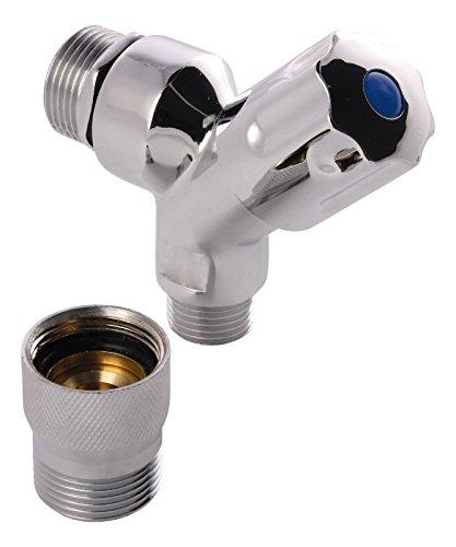 Sanitop-Wingenroth 06215 2 Geräte-Auslaufventil mit Rohrbelüfter, Rückflussverhinderer Loser Schlauchplatzsicherung und Schlauchanschluss, verchromt, 1/2 Zoll - mit Wasserstopp
