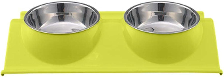 NYDZDM Stainless Steel pet Double Bowl, cat Dog Food Bowl Dog Bowl cat Bowl, pet Supplies Single Bowl Dog Eating Water Dual Purpose (Size   L)