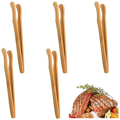 ALUYF Bambus Küche Zange Toastzange Bambus Kochzange Grillzange Zangen aus natürlichem Bambus Servierzange Zangen zum Kochen von Toast Brot Gurken Teeservice und Flipping Fleisch 5 PCS