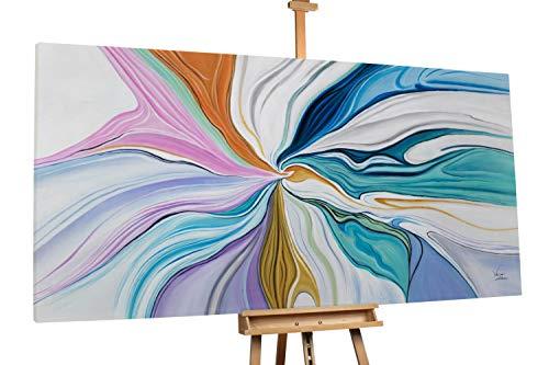KunstLoft® XXL Gemälde 'Schlaraffenland' 200x100cm | original handgemalte Bilder | Abstrakt Spirale Weiß Bunt | Leinwand-Bild Ölgemälde einteilig groß | Modernes Kunst Ölbild