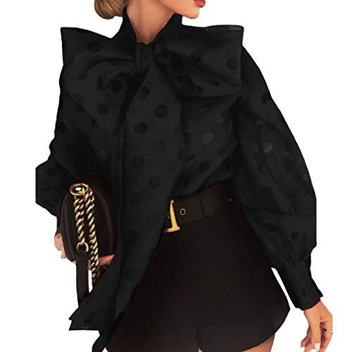 Mxssi Polka Dot Laterne Ärmel geknotete Bluse Frauen Schicke Elegante Büro Street Wear Frühling Herbst Modetrends Top Shirt