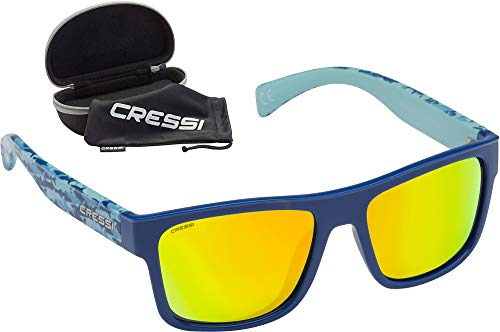 Cressi Spike Sunglasses Gafas de Sol Deportivo Unisex Adulto, Azul Fantasy/Lentes Espejadas Naranja, Talla única