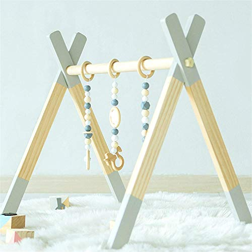 Avrsol Baby Play Gym Wooden Infant Activity Gym Foldable Baby Gym with 3 Teething Toys, Baby Newborn Gift, Grey