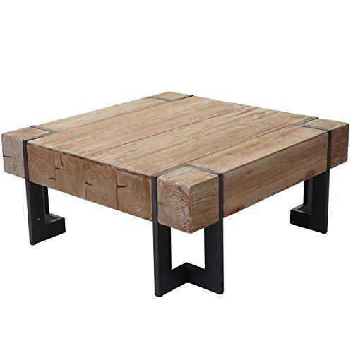Mendler Couchtisch HWC-A15, Wohnzimmertisch, Tanne Holz rustikal massiv ~ naturfarben 60x60cm