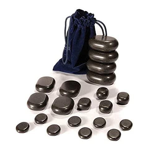 WellTouch Hot Stone Massage Set | 20 Basalt Massagesteine| Optimal als Hot Stone Einsteiger-Set | Geeignet für Privatanwender | Ideal für Spa, Massagetherapy & Entspannung