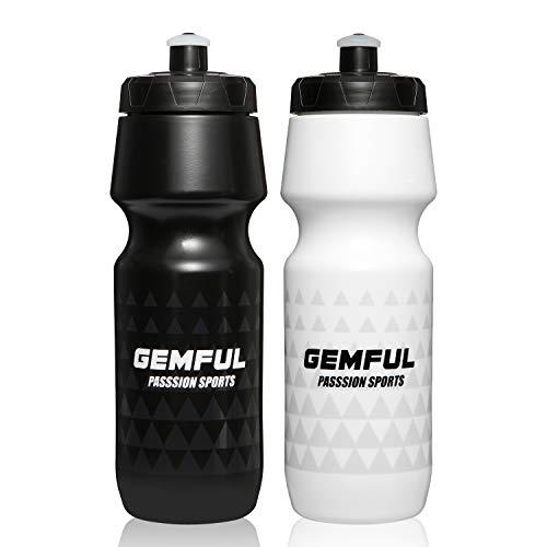 Sport Trinkflasche 750ml BPA-frei Radflasche 2er Set (Schwarz+Weiß)