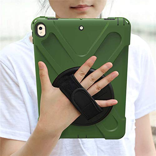 RZL Pad y Tab Fundas para iPad Pro 9.7, New 360 Armor Kids Cover 360 Rotation Hand Strap Silicon Cover PVC para iPad Pro 9.7 A1673 A1674 (Color : ARY Green)