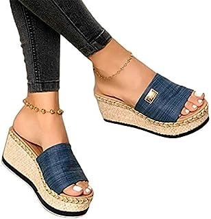 WDJJ Women Wedge Sandals, Casual Women Summer Wedge Peep Toe High Heel Platform Mules Anti Skid Sandals