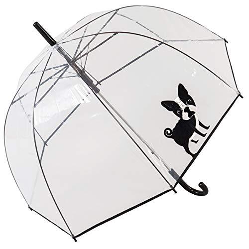 Regenschirm Glocke transparent mit Aufdruck Französischer Bulldogge, Regenschirm automatische Dome, großer Schutz mit einem Durchmesser von 85 cm, transparent Bedruckt Hund