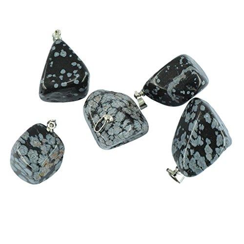 MagiDeal 5 Stücke Unisex Edelstain Anhänger Wassertropfenform für Halskette & Armbänder - Mode Schmuck - Schneeflocken-Obsidian
