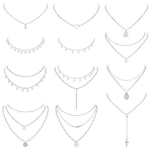 Besteel 12 Pieces Layered Necklaces for Women Multilayer Choker Necklace Star Bar Circle Coin Pendant Y Chain Adjuatable Necklaces Set