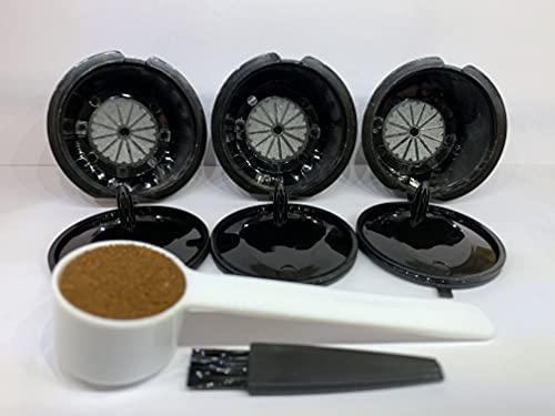 Amaup - 3 Capsulas Dolce gusto reutilizables rellenables profesionales - capsulas para cafeteras Dolce gusto reutilizables rellenables - + 1 cuchara para rellenar - 1 cepillo para limpiar de regalo -