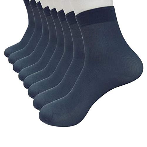 ZEFOTIM ✿ 8 Pairs Men Socks Bamboo Fiber Ultra-thin Elastic Silky Short Silk Stockings(navy,Free Size)