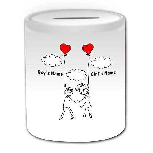Regalo personalizzato–Romantica galleggiante nel cielo con palloncino a forma di cuore Salvadanaio (Romance, motivo design, colore: bianco, qualsiasi nome/Messaggio sul tuo unico–Coppia