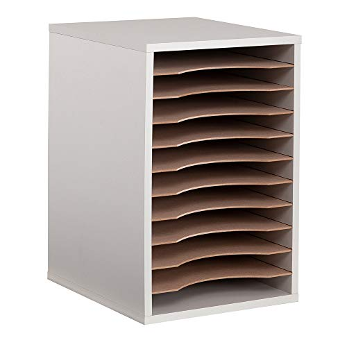 Safco Products Vertical Desktop Sorter, 11 Compartment 9419GR, Gray, Letter-size Shelves, Durable Laminate Finish