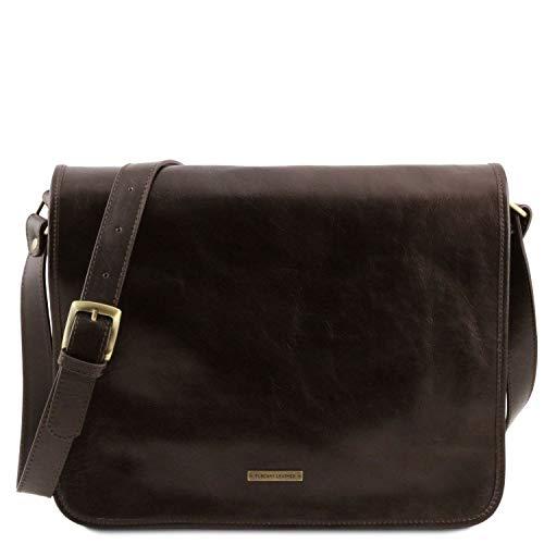 Tuscany Leather TL Messenger Sac bandoulière en Cuir 2 Compartiments - Grand modèle Marron foncé