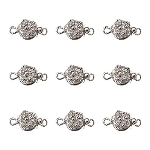 PandaHall 10 sets de latón con cierre de capas de cierre de joyería de 15 x 10 mm con forma de flor en capas para pulseras y collares, joyas, agujero: 1 ~ 2 mm