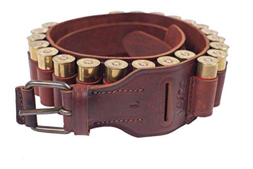 VlaMiTex Cartuccera Calibro 12 per 22 Cartucce da Caccia in Pelle, Marrone/Nero (J7 Rosso - Marrone, L Taille 103-123)