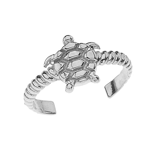 Fine Sea Turtle Rope Toe Ring in Solid Sterling Silver