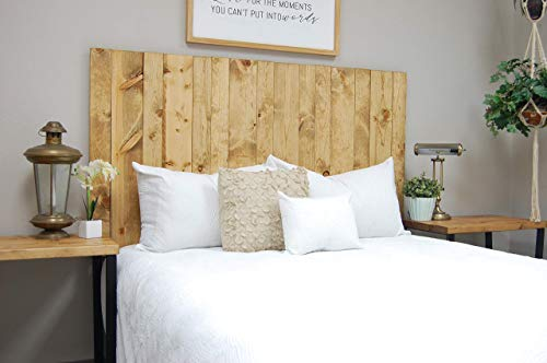 Golden Oak Headboard King Size Stain, Hanger Style, Handcrafted. Mounts on Wall. Easy Installation