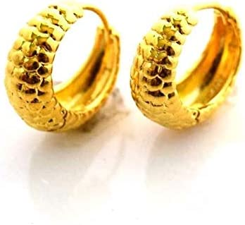 Cute New 24k Yellow Gold Filled 16mm Snake Skin Textured Round Hoop Earrings