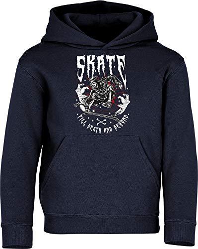 Sudadera con Capucha: Skate Till Death - Skater Pulóver - Regalo Niños Niño Niña - Skateboard Monopatín Mono Patinar Cumpleaños Navidad Sweater Hoodie Jersey Outdoor Deporte Sport (Azul 152)