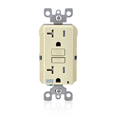 Leviton GFWT2-I Self-Test SmartlockPro Slim GFCI Weather-Resistant and Tamper-Resistant Receptacle with LED Indicator, 20 Amp, Ivory