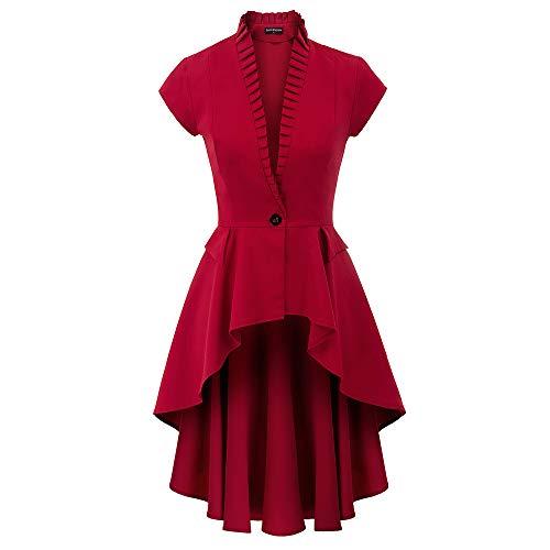 SCARLET DARKNESS Damen Waistmantel Gothic Victorian Kurzarm Stehkragen Lace-up Design Jacke Top High-Low Kleid M Rot SL93-2