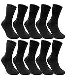 10 Paar Socken 100prozent Baumwolle Damen und Herren Socken ohne Naht & ohne Gummidruck (Schwarz 43-46)