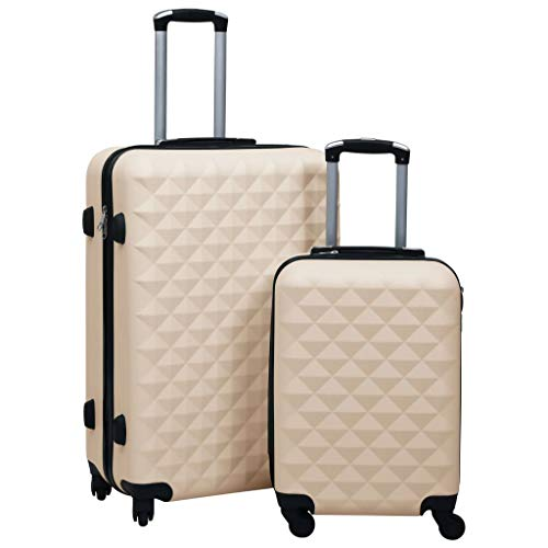 Tidyard Hardcase Trolley Set Business Trip Trolley Case Suitcase 2 pcs Gold ABS