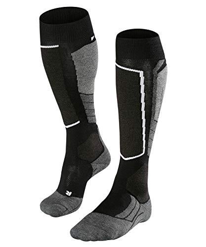 FALKE Damen Skisocken SK2 Wool, atmungsaktive Skistrümpfe mit Merinowolle, Kniestrümpfe zum Skifahren, beste Wärmeisolation, mittelstarke Polsterung, 1er Pack, Schwarz (Black-Mix 3010), Größe: 39-40