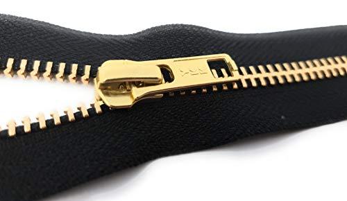 YKK RGC-56 Nicht teilbarer Reißverschluss aus Metall in Gold mit Zipper Schwarz 18 cm