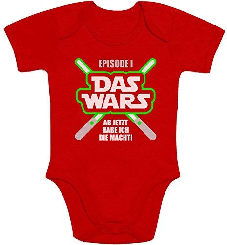 Shirtgeil DAS Wars, jetzt Habe ich die Macht - Baby Geschenk Fans Baby Body Kurzarm-Body 6-12 Monate Rot