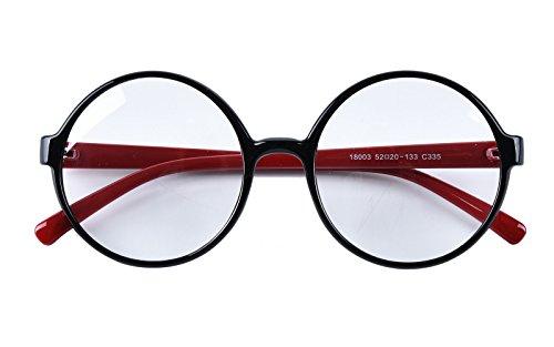 Agstum - Gafas redondas con montura de lente transparente y diseño retro de círculos de 52 mm, Negro (Negro/Rojo), X-Large