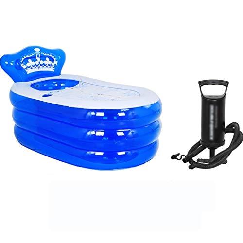 Opblaasbaar bad - Tub PVC Draagbare Volwassen Badkamer SPA met Hand Pomp Water Cup Ontwerp Isolatie Functie Blauw