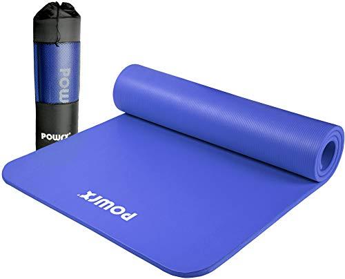 POWRX Gymnastikmatte Premium inkl. Trageband + Tasche + Übungsposter GRATIS I Hautfreundliche Fitnessmatte Phthalatfrei 190 x 60, 80 oder 100 x 1.5 cm (Dunkelblau, 190 x 60 x 1.5 cm)