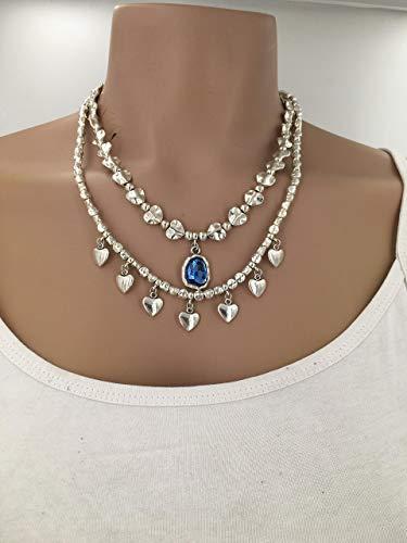 Collar mujer uno de 50 style, woman necklace, vintage necklace, collar zamak, silver necklace, boho necklace