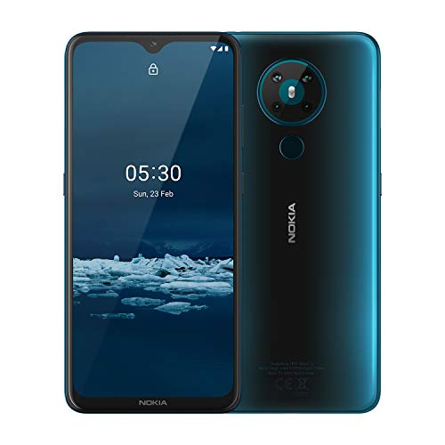 Nokia 5.3 Android One Smartphone with Quad Camera, 6 GB RAM and 64 GB Storage - Cyan