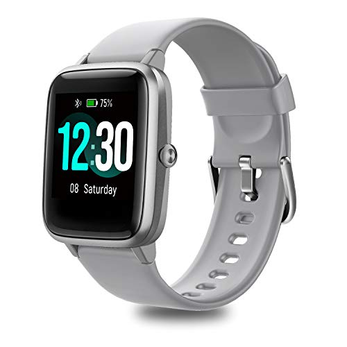 Fitness Tracker with Heart Rate Monitor, Fitpolo Smart Watch 1.3 inches Color Touchscreen IP68 Waterproof Step Calorie Counter Sleep Monitoring Pedometer Watches Activity Trackers for Women Men (Gray)
