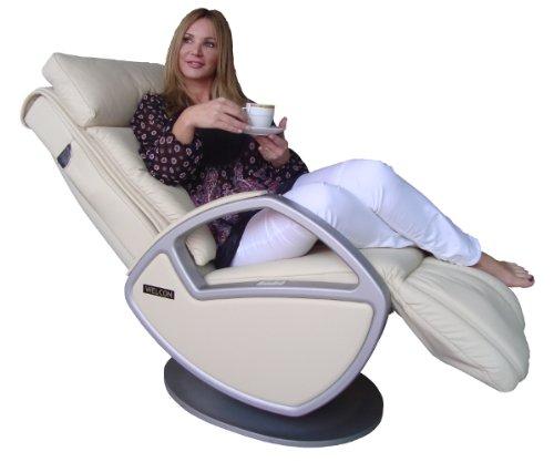 WELCON Luxus Massagesessel   Massagestuhl mit Shiatsu Massage Leder beige Space by Keyton - Möbel für luxuriöses Wohnen in schöner Optik für Ihr Wohnzimmer