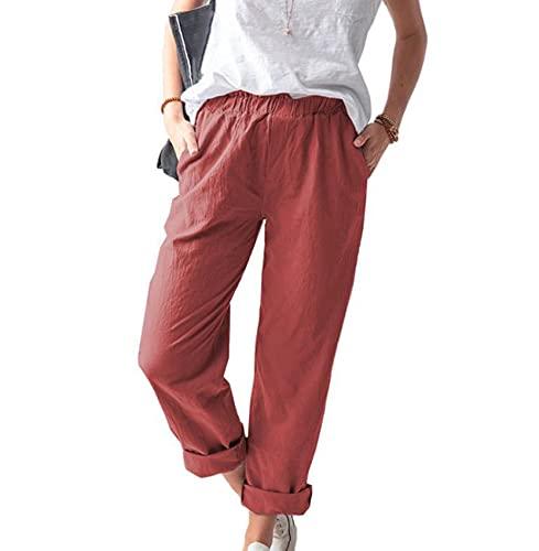 Pantalones Rectos De Cintura Media EláSticos De Color SóLido De Verano para Mujer Casual para Mujer