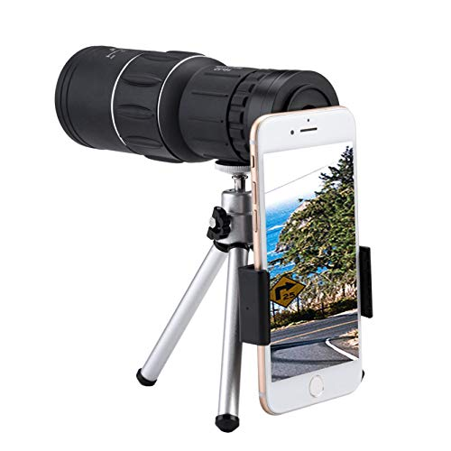 16x52 Zoom Optical HD Lens Monocular Telescope for Smart Phone, Magnification Phone Camera Telephoto Lens/Super Wide Angle Lens, with Tripod Holder Best Gift for Bird Watching Camping Travelling