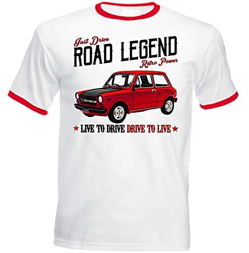 Teesandengines Autobianchi A112 Abarth 70 HP 1 T-Shirt de Hombre con Bordes Rojos Size Large