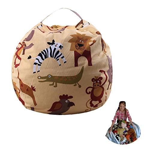 1PC Stuffed Animals Bean Bag Chair Cover Cotton Canvas Storage Bag Kids Plush Toy Storage Zipper Bags(Lion)