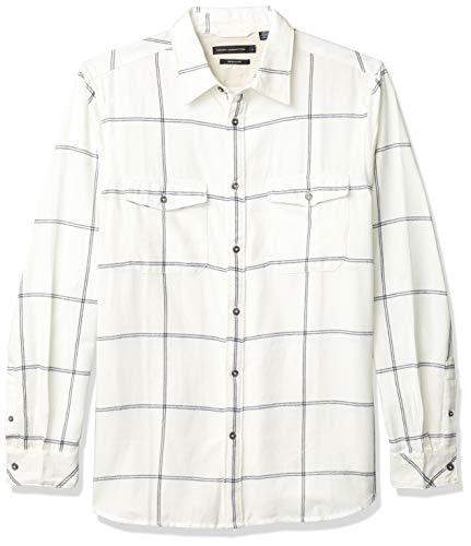 French Connection Men's Long Sleeve Flannel Stripe Button Down Shirt, Turtle Dove/Black iris, L