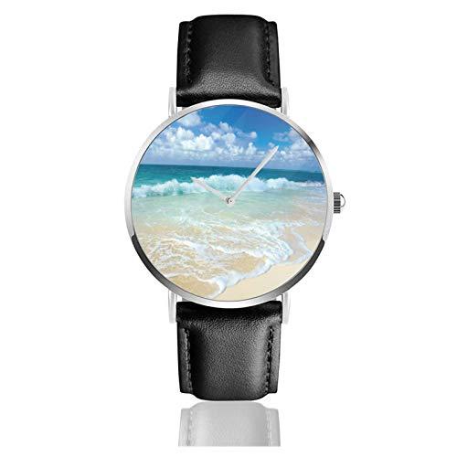 Strand mit schäumenden Wellen auf leerem Meer Ufer Urlaub Thema Serene Coastal Classic Casual Quarzuhr Edelstahl Schwarz Leder Armband Uhren Armbanduhren
